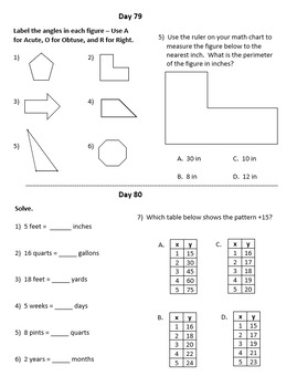 Fourth Grade Math Warm-Ups, Third Quarter