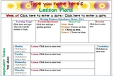 Fourth Grade Weekly Lesson Plan Template with Common Core Drop Down Boxes