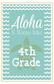 Fourth Grade Welcome Poster Hawaii: Aloha E Komo Mai