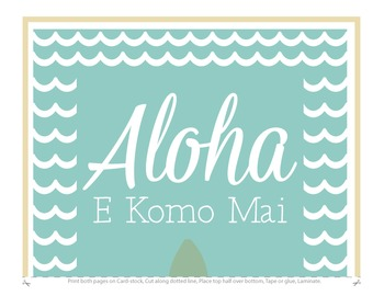 Fourth Grade Welcome Poster Hawaii: Aloha E Komo Mai