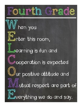 Fourth Grade Welcome Sign