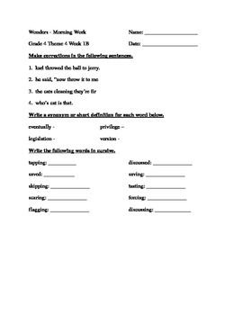 Fourth Grade Wonders Unit 4 Week 1 Morning Work