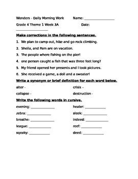 Fourth Grade Wonders Unit 1 Week 3 Morning Work