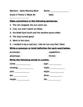 Fourth Grade Wonders Unit 1 Week 4 Morning Work