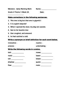 Fourth Grade Wonders Unit 1 Week 5 Morning Work