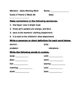 Fourth Grade Wonders Unit 2 Week 4 Morning Work