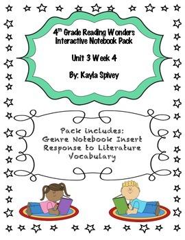 Fourth Grade (4th grade) Reading Wonders Unit 3 Week 4 Interactive Notebook