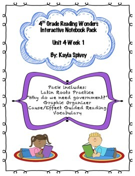 Fourth Grade (4th Grade) Reading Wonders Unit 4 Week 1 Int