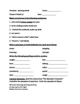 Fourth Grade Wonders Unit 4 Week 5 Morning Work