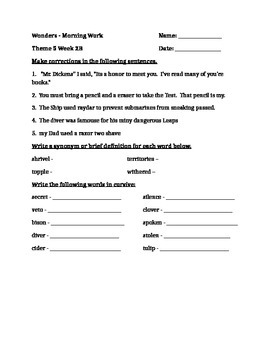 Fourth Grade Wonders Unit 5 Week 2 Morning Work