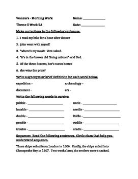 Fourth Grade Wonders Unit 5 Week 5 Morning Work