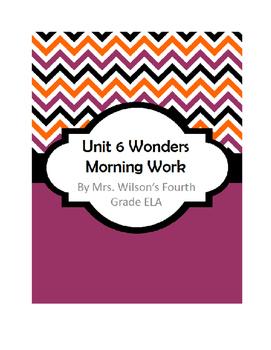 Fourth Grade Wonders Unit 6 Morning Work