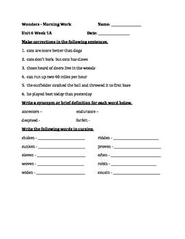 Fourth Grade Wonders Unit 6 Week 1 Morning Work