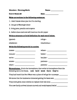 Fourth Grade Wonders Unit 6 Week 2 Morning Work