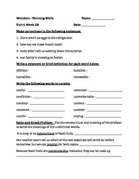 Fourth Grade Wonders Unit 6 Week 3 Morning Work