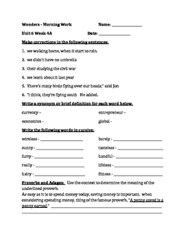 Fourth Grade Wonders Unit 6 Week 4  Morning Work