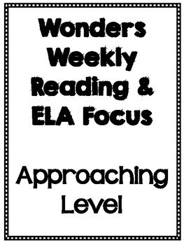 Fourth Grade Wonders Weekly Approaching Level