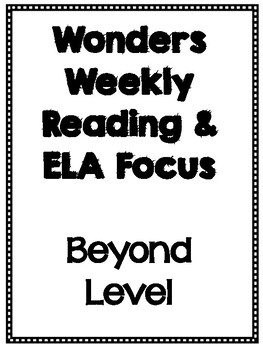Fourth Grade Wonders Weekly Focus Beyond Level