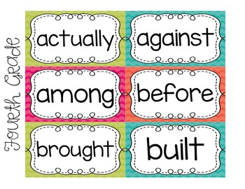 Fourth Grade Word Wall Words FREEBIE Summer Pop Collection