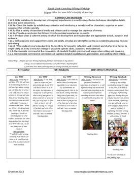 Fourth Grade Writer's Workshop Launching Unit of Study