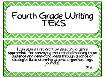 Fourth Grade Writing TEKS~ Green Chevron