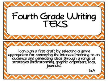 Fourth Grade Writing TEKS ~ Orange Chevron