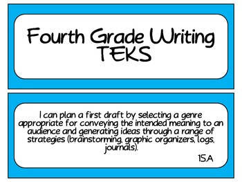 Fourth Grade Writing TEKS~ Solid Blue