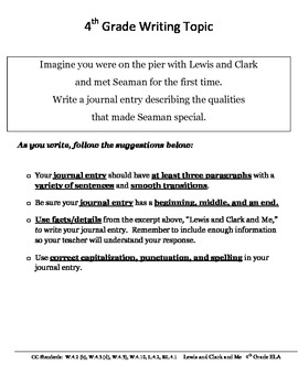 Common Core/PARCC Fourth Grade Writing Prompt:  Lewis and Clark and Me