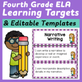 Fourth Grade Common Core ELA I Can Statements and Editable