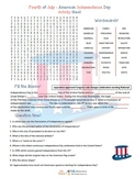 Fourth of July - US Independence activity / worksheets / p