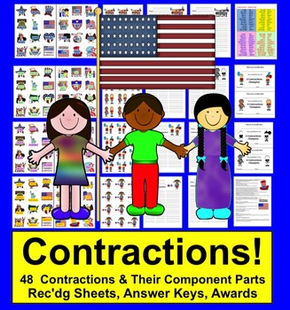 Fourth Of July Activities -Contractions: 4 Sets -  48 Pairs- Summer School