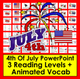 Fourth Of July Activities: PowerPoint -3 Levels, Vocab & Songs - Summer School