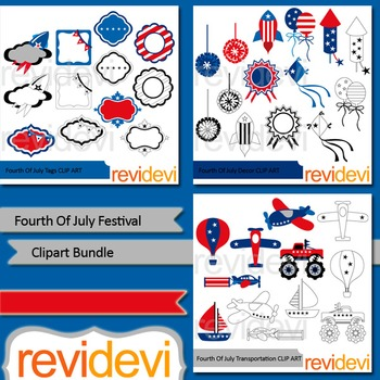 Fourth Of July clip art bundle (3 packs)