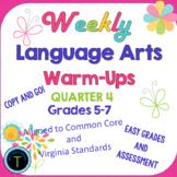 Fourth Quarter- Week 28-36 of Middle School ELA Daily Warm Ups-  ELA Bell Work