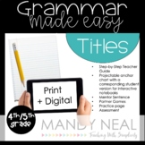 Fourth and Fifth Grade Grammar Activities (Titles)
