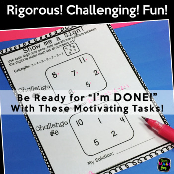 Early Finishers, Gifted, Homework, & Extensions - Math Challenges for #1