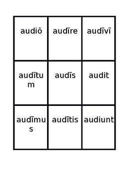 Fourth conjugation Present active Latin verbs Spoons game / Uno game