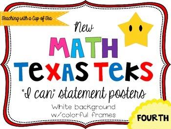 Fourth grade *New* Math TEKS Posters {white background w/c