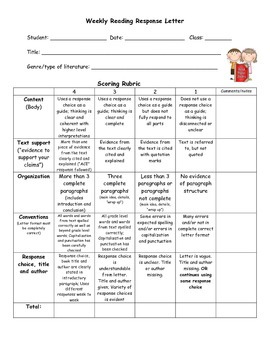 Fourth grade challenge reading response prompts based on c