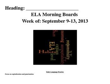 Fourth grade literacy boards (1 week)