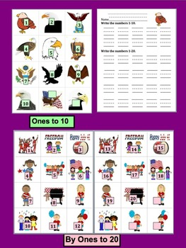 Fourth of July - 4th of July- Counting & Skip Counting Activities- Summer School