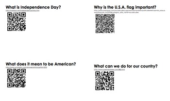 Fourth of July (4th of July) QR code activity