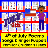 Fourth of July Songs, Poems & Finger Puppets - Summer School Activities!