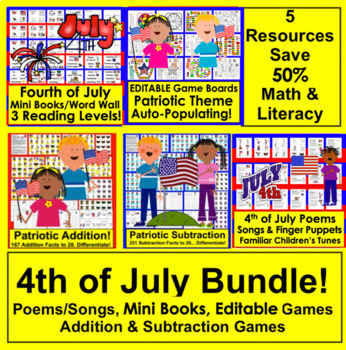 Fourth of July BUNDLE VALUE!  5  Centers for the Fourth of