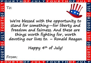 Fourth of July Cards: Notes from the Teacher