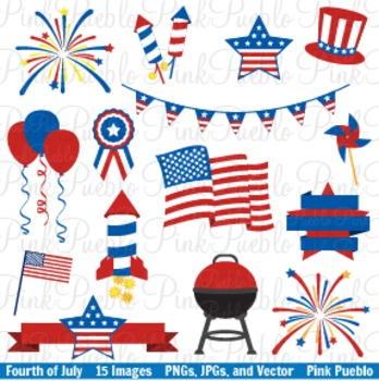 Fourth of July Clip Art Clipart Vectors - Commercial and Personal Use