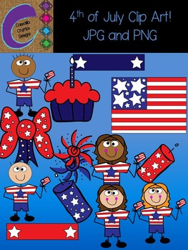 Fourth of July Clip Art Graphics Set Patriotic 13 images