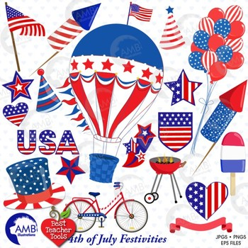 Fourth of July Clipart, Independence Day, July 4th Party Clipart, AMB-1367