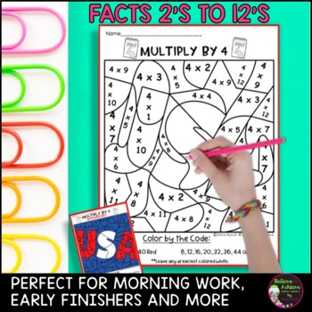 Fourth of July Color by Number Multiplication- 2's to 12's