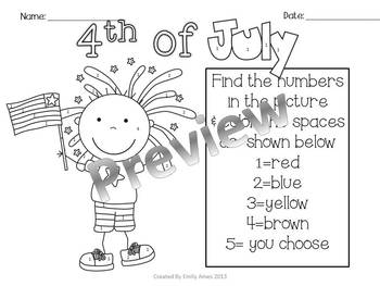 Fourth of July Color by Number and Tally